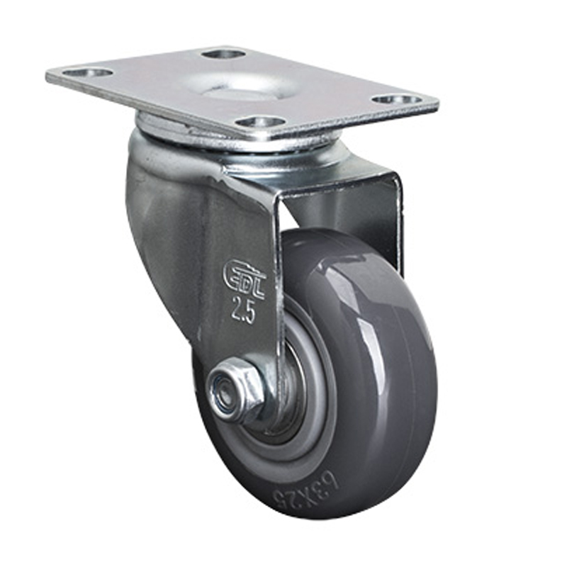 EDL Light 2.5'' 80kg Plate Swivel PU Caster 361125-3625-76
