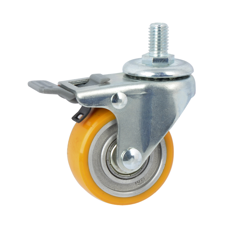 "EDL Mini 2"" 40Kg Threaded Brake TPU Caster 26142H-262-86A"