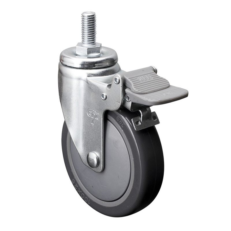 "EDL Light 4"" 80kg Threaded Plastic Dual Brake PU Caster 37144H-374-77"